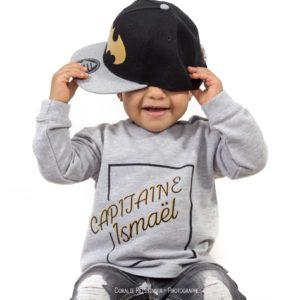 Sweat ENFANT modèle «Capitaine + Prénom»