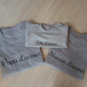 """Sweat pour adulte """"Maman/ papa d'amour"""" (marraine / parrain)"""