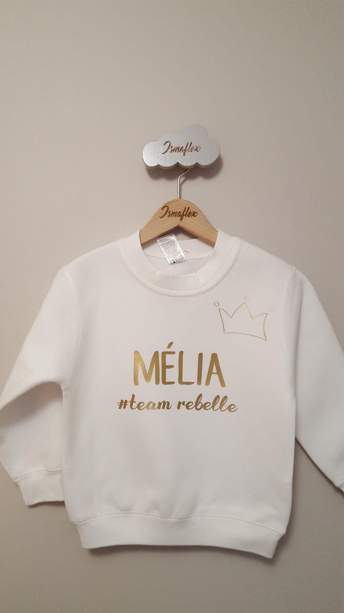 sweat enfant prnom team personnalise - Melia Prenom