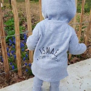 Veste bébé personnalisée prénom + team personnalisée