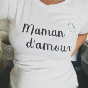 """Tee-shirt BIO > adulte """"Maman / Papa d'amour"""""""
