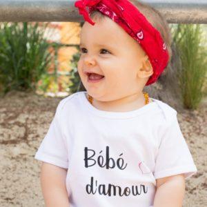 """Tee-shirt ENFANT """"Bébé d'amour"""" ou """"Mini d'amour"""""""