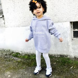 """Sweat-shirt à capuche, enfant """"Mademoiselle/ Monsieur Bouclettes"""""""