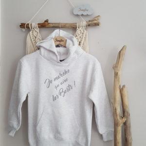 Sweat-shirt à capuche ADULTE «Je marche qu'avec les bests!»