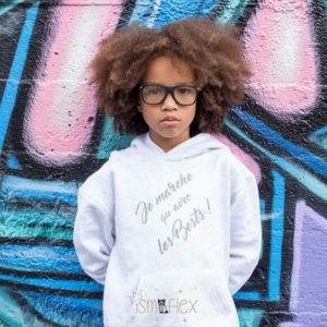 Sweat-shirt à capuche, enfant «je marche qu'avec les bests»