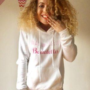 Sweat-shirt à capuche ADULTE «Mademoiselle bouclettes»