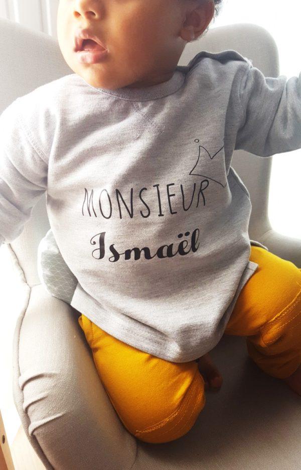 """sweat bébé personnalisé """"monsieur Ismaël"""""""