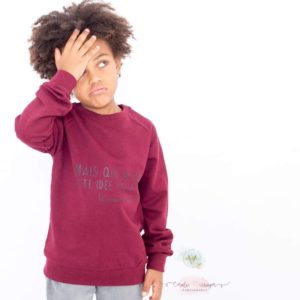 "☆NEW CO☆ Sweat ENFANT ""Mais qui a eu cette idée folle?"""