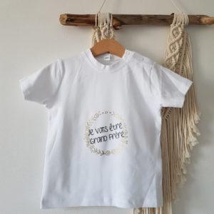 """Tee shirt enfant Annonce : """"je vais être grand(e) frère / sœur"""" (duo dispo avec modèle adulte)"""