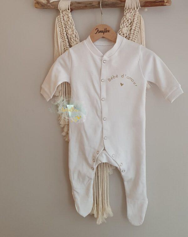 pyjama blanc bébé personnalisé bébé d'amour