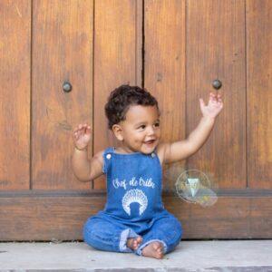 Salopette en jean bébé /enfant personnalisée
