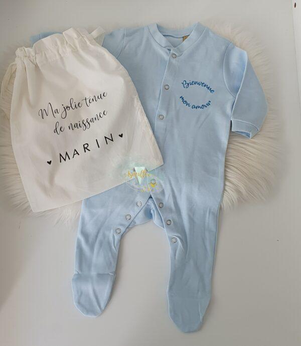 pyjama bébé bleu et pochon personnalisé avec prénom