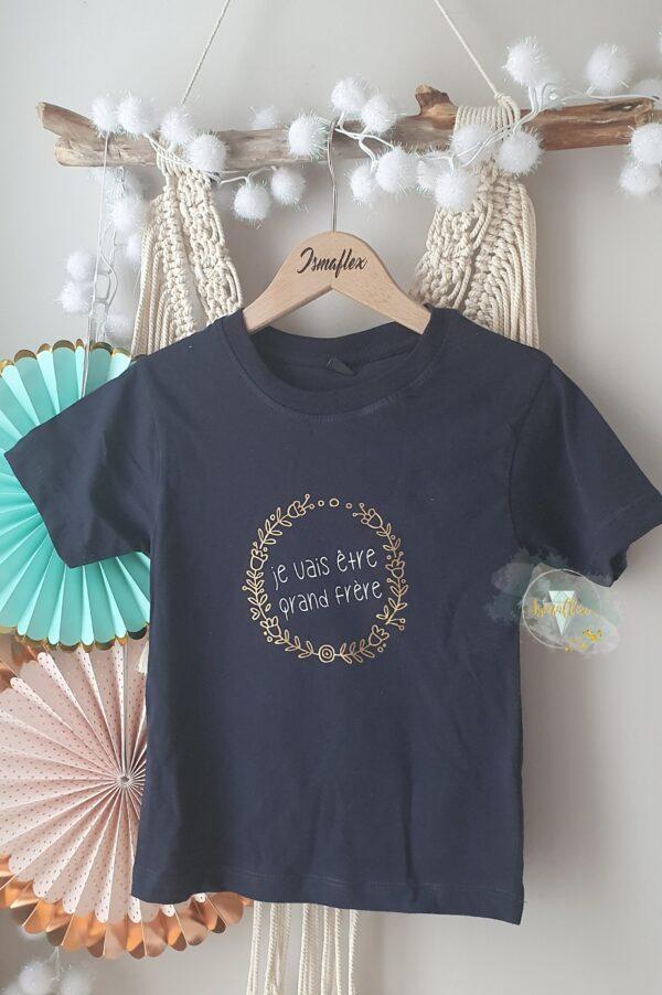 """tee shirt bleu foncé personnalisé """"je vais être grand frère"""""""