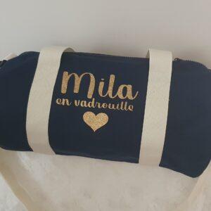 Petit sac polochon «Mila en vadrouille» DISPO DE SUITE