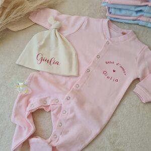 Coffret naissance Pyjama+ bonnet personnalisé