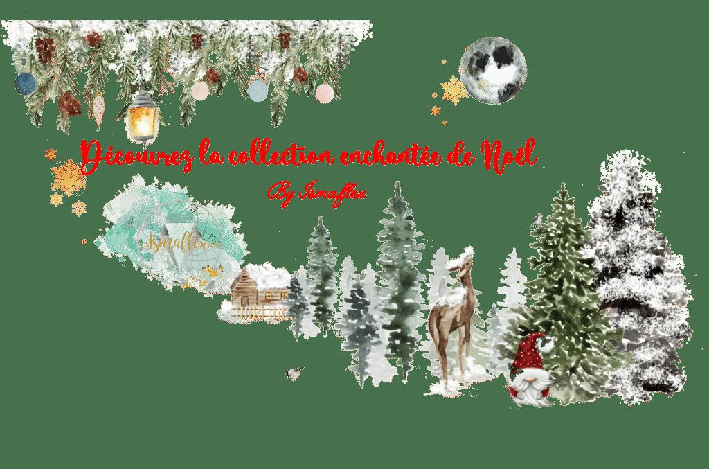 Illustration de la collection de Noël représentant un village de Noël