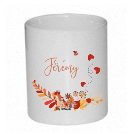 pot à crayons personnalisés thème automne et prénom Jérémy
